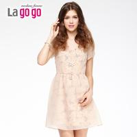 Lagogo valley of the valley summer dress 2014 double layer print gentlewomen slim waist party  dress