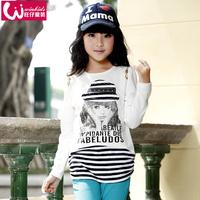 Children's clothing female child autumn 2014 child long-sleeve T-shirt female child basic shirt fashion sports pullover
