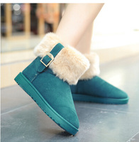 2014 fashion Winter Snow Boot Women Fashion big Man-made Fur Buckle Motorcycle Ankle Boots Shoes