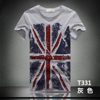 Free shipping 2015 brand new summer Men's Fashion m word flag cotton short-sleeve T-shirt o-neck men's t shirt Mens tops