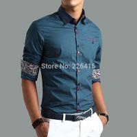 Free Shipping 2014 High Quality Plus size M-5XL Men shirt commercial long-sleeve mens dress shirts camisa social masculina