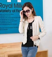 2014 autumn women's o-neck slim short design motorcycle PU clothing pew coat leather jacket women  (A2606 )