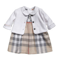 2014 new children's clothing for girls casual plaid three-piece fitted female baby dress + jacket + T-shirt 3pcs free shipping