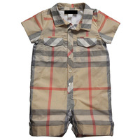 2014 New England Wind infant summer classic plaid short-sleeved Romper baby boy Teddy Romper jumpsuit Free Shipping
