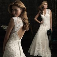 wedding dress lace with white v-neck bride dress mermaid v-neck dress free shipping wedding dresses