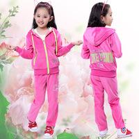 Female child velvet set autumn child long-sleeve paillette solid color sports casual children's clothing fashion family