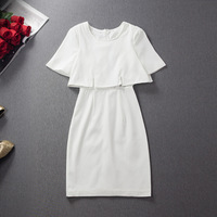 2014 women's white lace elegant slim faux two piece set one-piece dress