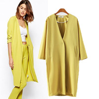 Hot  2014 autumn and winter women's fashion candy color elegance office suit jacket V-neck windbreaker coat Blazers