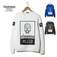 2014 New men's fashion skull letter print sweatshirt cotton pullover sweatshirt