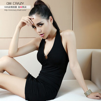 Om crazy women's racerback low-cut sexy halter-neck dress curve slim women's
