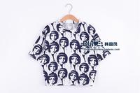 2014 fashion o-neck loose short design woman head t-shirt tee women's shorts