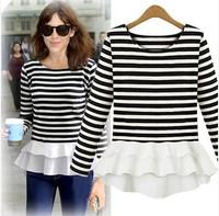 2014 autumn fashion women top o-neck long-sleeve T-shirt slim plus size basic shirt chiffon shirt female