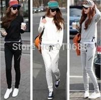 Hot!!! New 2014 Slim casual sport set spring autumn female long-sleeve plus size sweatshirt set women hoody suit Free Shipping