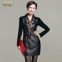 Leather  PU slim long-sleeve plus size short design slim hip leather female 0012 one-piece dress