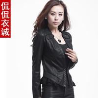 Spring & winter 2014 Hot Sell New European and American Fashion Machine wagon Fur Coat Slim Short PU Leather Jacket Women Black
