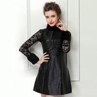 2014 one-piece dress genuine leather sheepskin female clothing slim leather