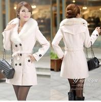 2014 fat women autumn winter brand big size woolen fur coat double breasted trench coat fur collar warm winter coat large size