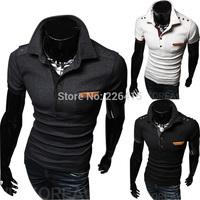 Free Shipping Men's Short-sleeve Camisa Polo Shirts Button Polo Shirt Men Turn-down Collar Camisas Polo For Men 2014 3 Colors