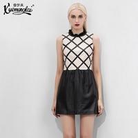 2014 rhombus sheepskin genuine leather one-piece dress tank dress women's genuine leather