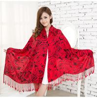 2014 slanting cotton scarf Rose print tassel women's cape autumn and winter rose shawls