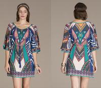 Bohemian  Dress Women's Paisley Mini Dress  Boho Print Tunic Dresses