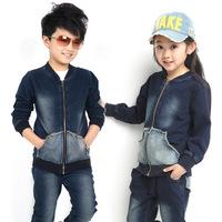 Autumn children's clothing child set male child 2014 female child set child sports denim set