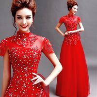 2014 BEST THE ANGEL ,new arrival Lace flower diamond evening bandage dress long design evening dress   A6069#