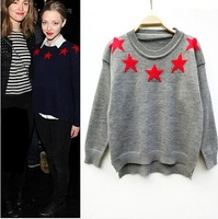 2561 2014 fashion star style fashion five-pointed star o-neck long-sleeve knitted sweater