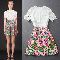 2014 women's delicate water-soluble flower crochet lace embossed jacquard one-piece dress