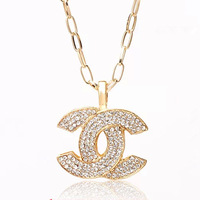 Accessories fashion ladies long design necklace alloy full rhinestone pendant necklace accessories
