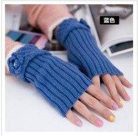 2014 new fashion ladies winter day and a half finger gloves hook lace fingerless wool gloves to keep warm