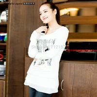 new arrival presell shirt Plus size irregular shirt  autumn design t-shirt basic shirt free shipping L,xl,2xl,3xl,4xl,5xl,6xl