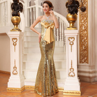 New long-design Sequined Fishtail Slim Bowknot Chiffon Strapless Formal Dress Wedding Gown LF347