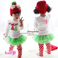 Autumn new arrival 2014 Christmas baby girls clothing set baby long-sleeve cotton skorts twinset