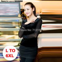 Presell autumn black L XL 2XL 3XL 4XL 5XL 6XL SHIRT Plus size elasticity slim shirt plus size autumn elegant basic shirt hotsell