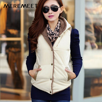 2014 autumn and winter plus size plus velvet thermal cotton vest female outerwear vest female kaross patchwork with a hood