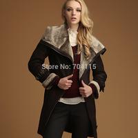 Large lapel long design  female fur  faux coat