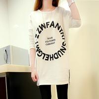 2014 new Autumn women's t-shirt casual three quarters sleeve letter loose slim medium-long plus size o-neck basic t-shirt female