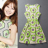 2014 women's fashion geometry color block decoration elegant small fresh one-piece dress green