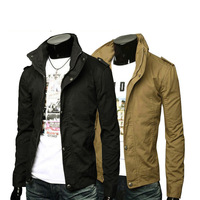 Hot Sell Mens Jackets Cotton Outwear Men's Coats 2014 Autumn Thin Stand Collar Slim Jacket Ccasual Male General Rules Outerwear