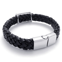 A21463 fashion big black cowhide rope stainless steel bracelet personality male and women's style bracelet