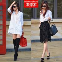 Blusas femininas 2014 autumn fashion blusas y camisa medium-long shirt female loose white shirt blusas-femininas