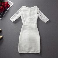 2014 women's white perspectivity sexy cutout stripe one-piece dress