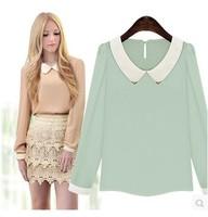 2014 autumn fashion women's peter pan collar long-sleeve chiffon basic shirt solid color all-match shirt women's top