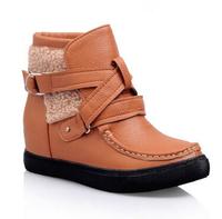 2014New Ankle Boots Heels Women Autumn Boots Elevator Platform Buckle Decoration Botas Femininas Short Martin Boots Size 34-43