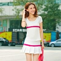 2014 cheap women's Summer sports set breathable short-sleeve shirt  short skirt  badminton tennis dress running shorts