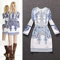 Free shipping! 2014 autumn women's fashion blue and white porcelain print long-sleeve slim one-piece dress