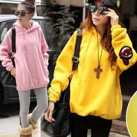 2014 women's thickening fleece medium-long pullover sweatshirt female loose plus size long-sleeve outerwear female