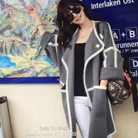 2014 autumn winter new women's clothing coat Large lapel batwing sleeve cape plus size loose cloak women's long johns outerwear