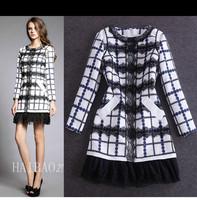 Free shipping! 2014 fashion autumn and winter women ladies elegant fashion patchwork lace decoration slim long-sleeve dress